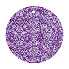 Damask2 White Marble & Purple Denim Ornament (round) by trendistuff