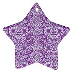 DAMASK2 WHITE MARBLE & PURPLE DENIM Ornament (Star) Front