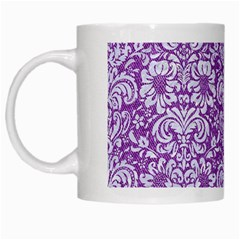 Damask2 White Marble & Purple Denim White Mugs by trendistuff