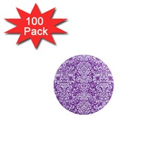 Damask2 White Marble & Purple Denim 1  Mini Magnets (100 Pack)  by trendistuff