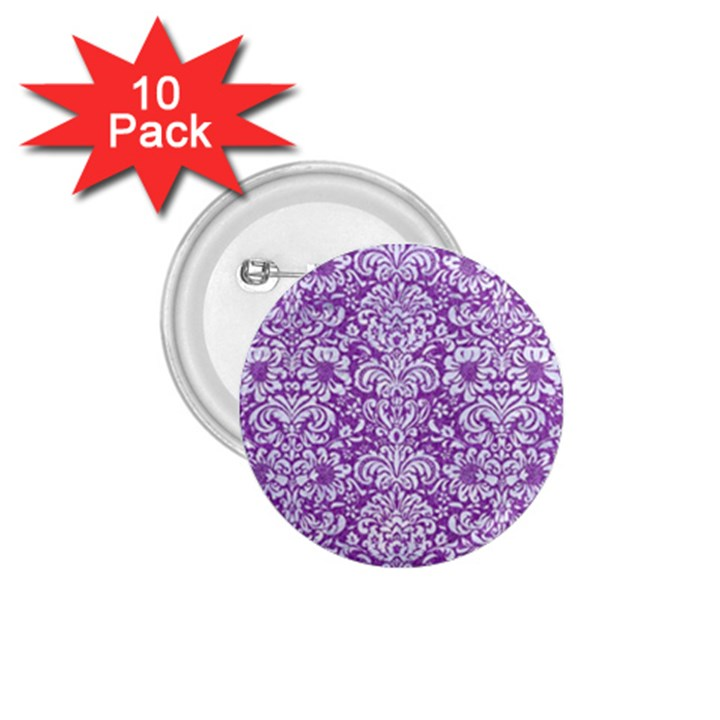 DAMASK2 WHITE MARBLE & PURPLE DENIM 1.75  Buttons (10 pack)