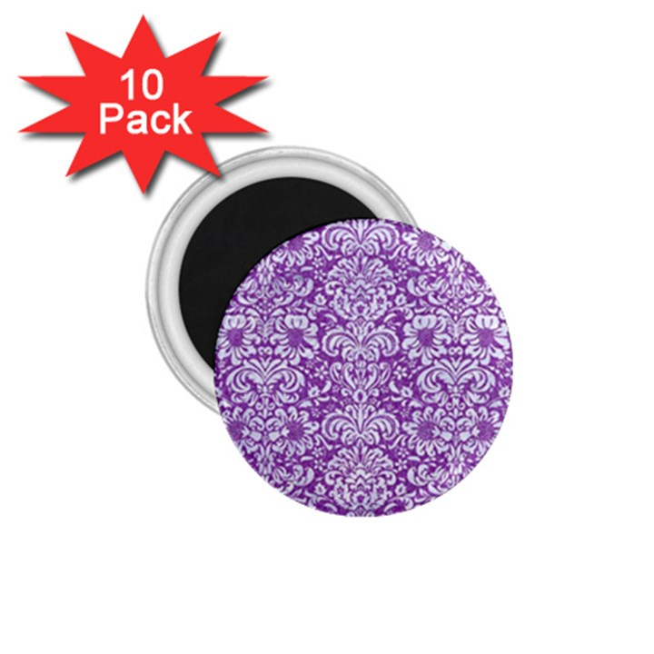 DAMASK2 WHITE MARBLE & PURPLE DENIM 1.75  Magnets (10 pack)