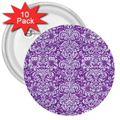 Damask2 White Marble & Purple Denim 3  Buttons (10 Pack)  by trendistuff