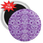 DAMASK2 WHITE MARBLE & PURPLE DENIM 3  Magnets (10 pack)  Front