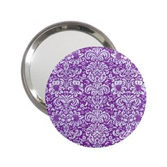 Damask2 White Marble & Purple Denim 2 25  Handbag Mirrors by trendistuff