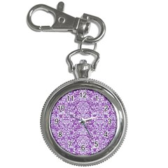 Damask2 White Marble & Purple Denim Key Chain Watches by trendistuff