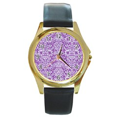 Damask2 White Marble & Purple Denim Round Gold Metal Watch by trendistuff