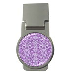 DAMASK2 WHITE MARBLE & PURPLE DENIM Money Clips (Round)  Front