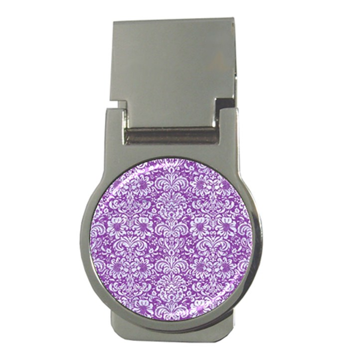 DAMASK2 WHITE MARBLE & PURPLE DENIM Money Clips (Round)