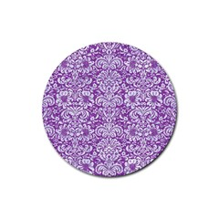 Damask2 White Marble & Purple Denim Rubber Round Coaster (4 Pack)  by trendistuff