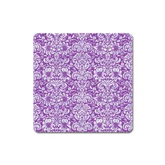 Damask2 White Marble & Purple Denim Square Magnet by trendistuff
