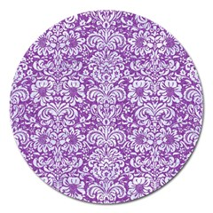 Damask2 White Marble & Purple Denim Magnet 5  (round) by trendistuff