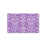 DAMASK2 WHITE MARBLE & PURPLE DENIM Magnet (Name Card) Front