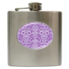 Damask2 White Marble & Purple Denim Hip Flask (6 Oz) by trendistuff