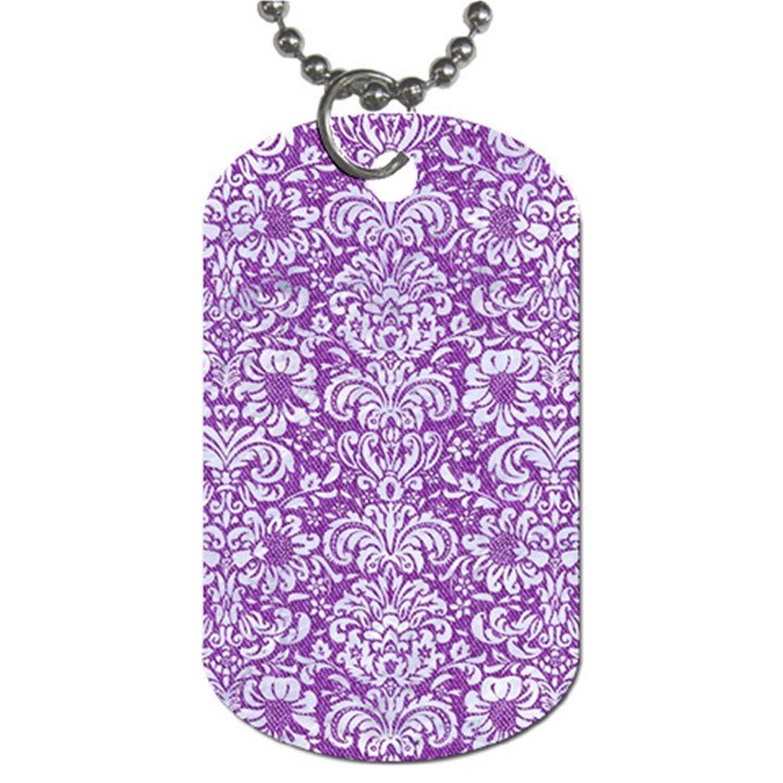 DAMASK2 WHITE MARBLE & PURPLE DENIM Dog Tag (Two Sides)