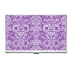 Damask2 White Marble & Purple Denim Business Card Holders