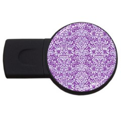 Damask2 White Marble & Purple Denim Usb Flash Drive Round (2 Gb) by trendistuff