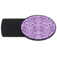 Damask2 White Marble & Purple Denim Usb Flash Drive Oval (2 Gb) by trendistuff