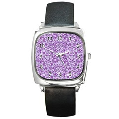 Damask2 White Marble & Purple Denim Square Metal Watch by trendistuff