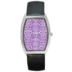 Damask2 White Marble & Purple Denim Barrel Style Metal Watch by trendistuff