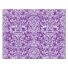 Damask2 White Marble & Purple Denim Rectangular Jigsaw Puzzl by trendistuff