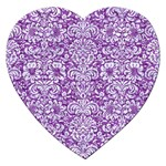 DAMASK2 WHITE MARBLE & PURPLE DENIM Jigsaw Puzzle (Heart) Front