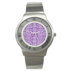 Damask2 White Marble & Purple Denim Stainless Steel Watch by trendistuff