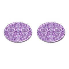 Damask2 White Marble & Purple Denim Cufflinks (oval) by trendistuff