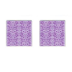 Damask2 White Marble & Purple Denim Cufflinks (square) by trendistuff