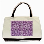 DAMASK2 WHITE MARBLE & PURPLE DENIM Basic Tote Bag Front