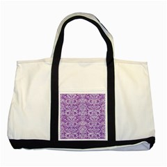 Damask2 White Marble & Purple Denim Two Tone Tote Bag by trendistuff