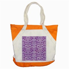 Damask2 White Marble & Purple Denim Accent Tote Bag by trendistuff