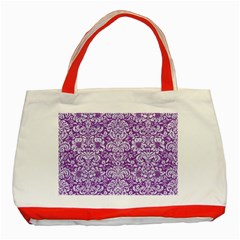 Damask2 White Marble & Purple Denim Classic Tote Bag (red) by trendistuff