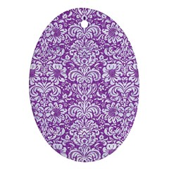 Damask2 White Marble & Purple Denim Oval Ornament (two Sides)