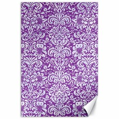 Damask2 White Marble & Purple Denim Canvas 24  X 36  by trendistuff