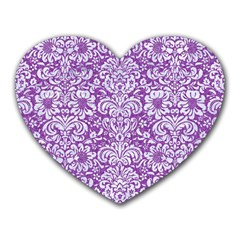 Damask2 White Marble & Purple Denim Heart Mousepads by trendistuff