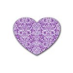 DAMASK2 WHITE MARBLE & PURPLE DENIM Heart Coaster (4 pack)  Front