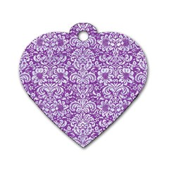 Damask2 White Marble & Purple Denim Dog Tag Heart (one Side) by trendistuff