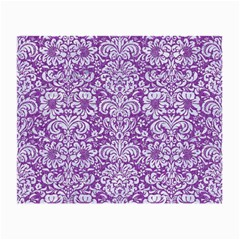 Damask2 White Marble & Purple Denim Small Glasses Cloth (2 Side)