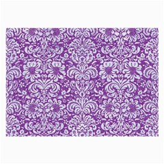 Damask2 White Marble & Purple Denim Large Glasses Cloth (2 Side) by trendistuff