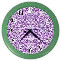 Damask2 White Marble & Purple Denim Color Wall Clocks by trendistuff