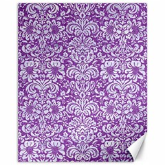 Damask2 White Marble & Purple Denim Canvas 11  X 14