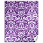 DAMASK2 WHITE MARBLE & PURPLE DENIM Canvas 11  x 14   14 x11 Canvas - 1