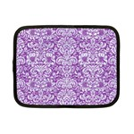 DAMASK2 WHITE MARBLE & PURPLE DENIM Netbook Case (Small)  Front