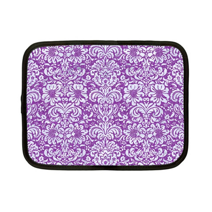 DAMASK2 WHITE MARBLE & PURPLE DENIM Netbook Case (Small)