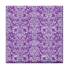 Damask2 White Marble & Purple Denim Face Towel by trendistuff
