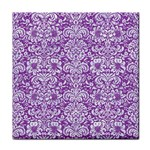 DAMASK2 WHITE MARBLE & PURPLE DENIM Face Towel Front