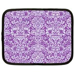 DAMASK2 WHITE MARBLE & PURPLE DENIM Netbook Case (XXL)  Front