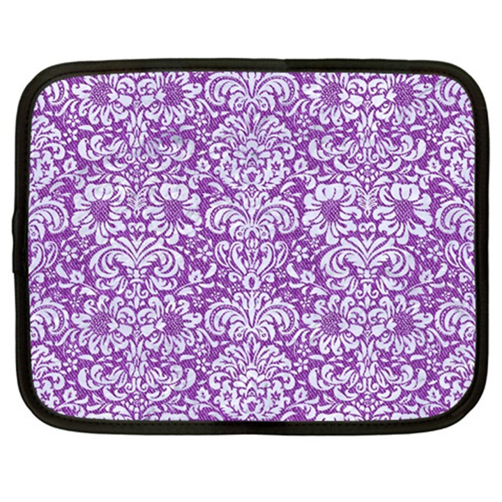 DAMASK2 WHITE MARBLE & PURPLE DENIM Netbook Case (XXL)