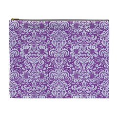 Damask2 White Marble & Purple Denim Cosmetic Bag (xl)